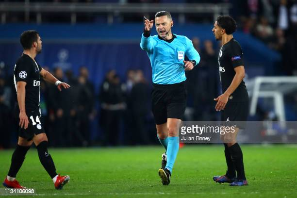 Referee Damir Skovina awards a penalty to Manchester United after a VAR review during the UEFA Champions League Round of 16 Second Leg match between...