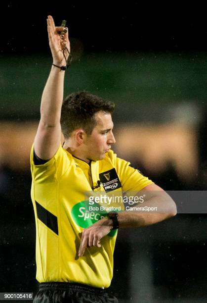 Referee Dan Jones during the Guinness Pro14 Round 12 match between Dragons and Ospreys at Rodney Parade on December 31 2017 in Newport Wales