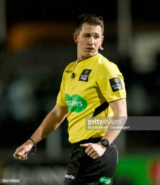 NEWPORT WALES DECEMBER Referee Dan Jones during the Guinness Pro14 Round 12 match between Dragons and Ospreys at Rodney Parade on December 31 2017 in...