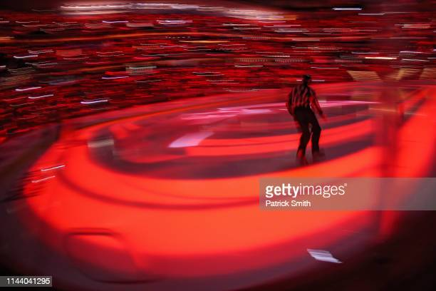 Referee Dan O'Rourke takes the ice before the Carolina Hurricanes play the Washington Capitals in the first period in Game Five of the Eastern...