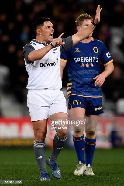 Referee Dan Waenga awards a penalty during the round one Bunnings NPC match between Otago and Southland at Forsyth Barr Stadium, on August 07 in...