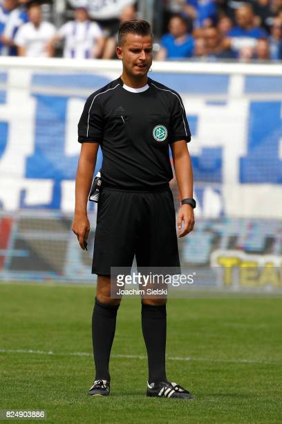 Referee Daniel Schlager during the 3 Liga match between 1 FC Magdeburg and FC RotWeiss Erfurt at MDCCArena on July 29 2017 in Magdeburg Germany