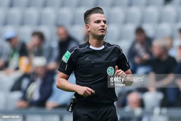 Referee Daniel Schlager looks on during the Second Bundesliga match between TSV 1860 Muenchen and VfL Bochum at Allianz Arena on May 14 2017 in...
