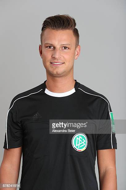 Referee Daniel Schlager poses during the DFB referee team presentation on July 13 2016 in Grassau Germany