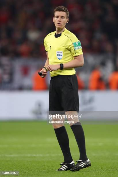Referee Daniel Siebert reacts during the DFB Cup semi final match between Bayer 04 Leverkusen and Bayern Muenchen at BayArena on April 17 2018 in...