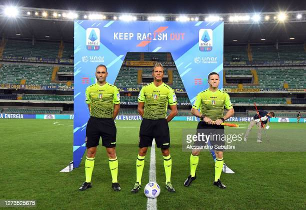 Referee Daniele Chiffi line up during the Serie A match between Hellas Verona FC and AS Roma at Stadio Marcantonio Bentegodi on September 19 2020 in...