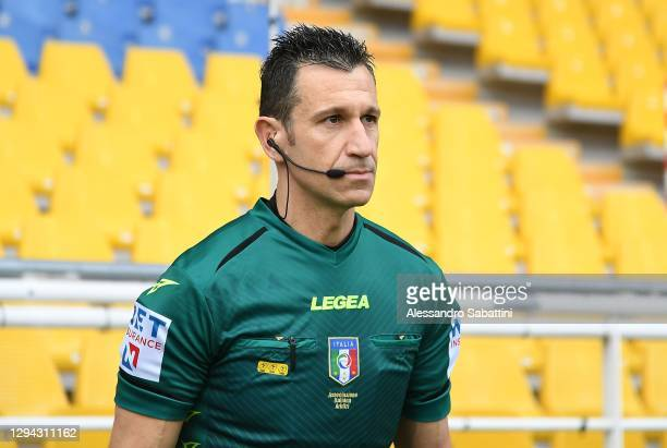 Referee Daniele Doveri looks on during the Serie A match between Parma Calcio and Torino FC at Stadio Ennio Tardini on January 03, 2021 in Parma,...