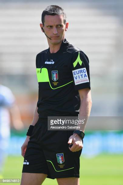 Referee Daniele Minelli looks on during the serie B match between Parma Calcio and Carpi FC at Stadio Ennio Tardini on April 21 2018 in Parma Italy