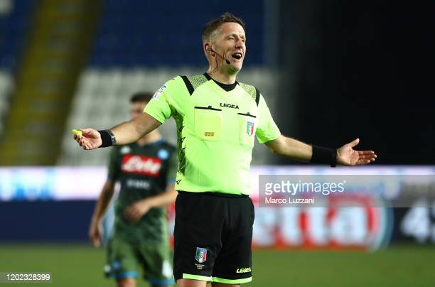 Referee Daniele Orsato gestures during the Serie A match between Brescia Calcio and SSC Napoli at Stadio Mario Rigamonti on February 21 2020 in...