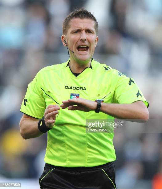 Referee Daniele Orsato shouts gestures during the Serie A match between SS Lazio and AS Roma at Stadio Olimpico on February 9 2014 in Rome Italy
