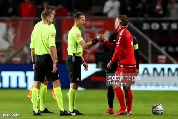 Referee Danny Makkelie and Wout Brama of FC Twente during the Dutch Eredivisie match between FC Twente and AZ at De Grolsch Veste on September 23,...