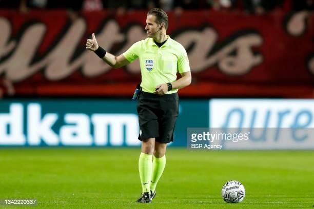 Referee Danny Makkelie during the Dutch Eredivisie match between FC Twente and AZ at De Grolsch Veste on September 23, 2021 in Enschede, Netherlands