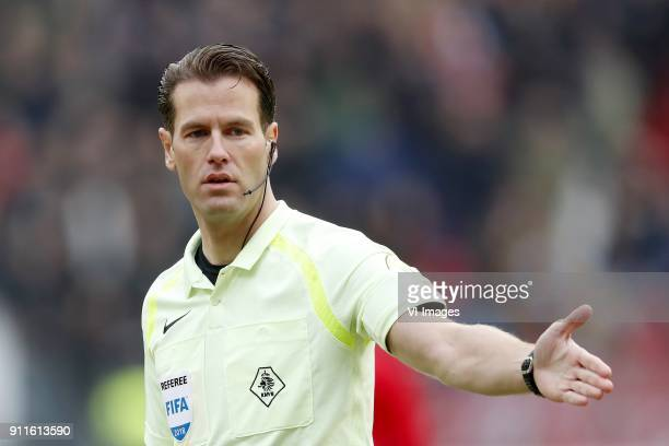referee Danny Makkelie during the Dutch Eredivisie match between FC Utrecht and Ajax Amsterdam at the Galgenwaard Stadium on January 28 2018 in...