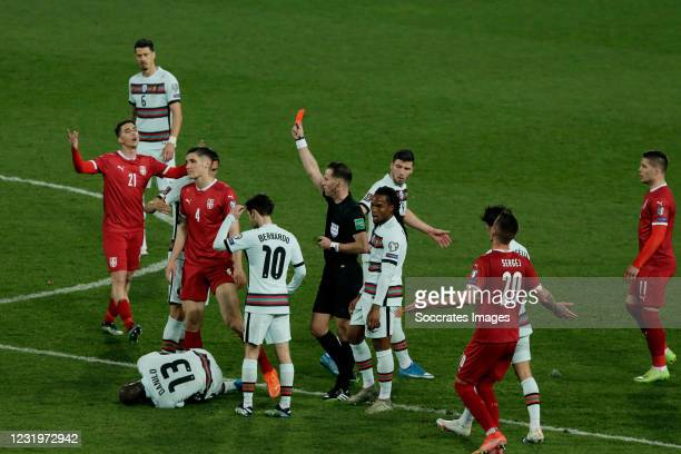 Referee Danny Makkelie gives a red card to Nikola Milenkovic of Serbia during the World Cup Qualifier match between Serbia v Portugal at the Stadion...