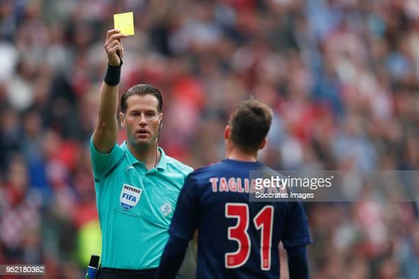 referee Danny Makkelie Nicolas Tagliafico of Ajax during the Dutch Eredivisie match between PSV v Ajax at the Philips Stadium on April 15 2018 in...