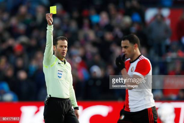 referee Danny Makkelie Sofyan Amrabat of Feyenoord during the Dutch Eredivisie match between Feyenoord v PSV at the Stadium Feijenoord on February 25...