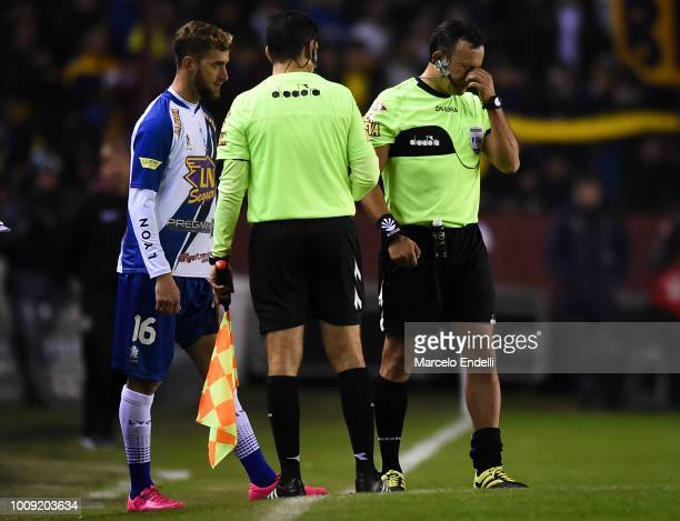 Referee Dario Herrera lamments after being injured during a match between Boca Juniors and Alvarado as part of Round of 64 of Copa Argentina 2018 on...