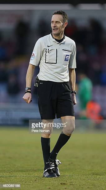 Referee Darren Deadman in action during the Sky Bet League Two match between Northampton Town and Newport County at Sixfields Stadium on January 24...