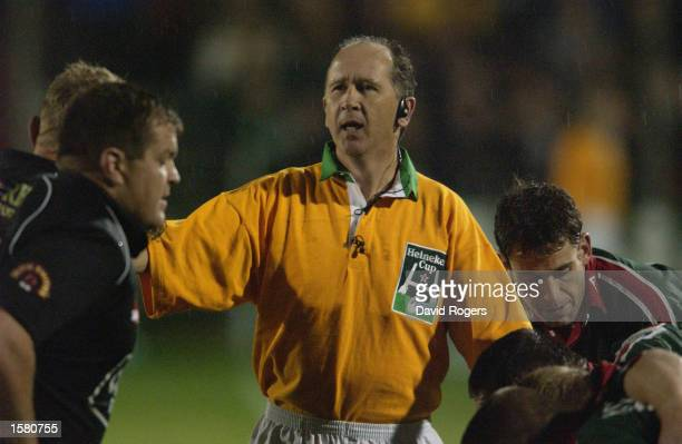 Referee David McHugh of Ireland during the Heineken Cup Pool 1 match between Neath and Leicester Tigers held on October 11 2002 at the Gnoll in Neath...