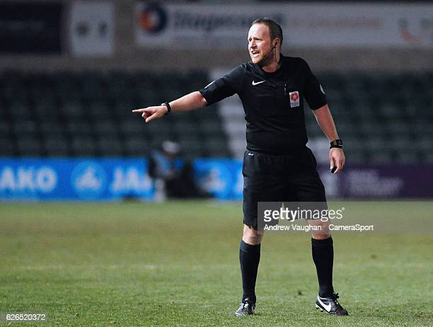 Referee David Rock during the Vanarama National League match between Lincoln City and Wrexham at Sincil Bank Stadium on November 29 2016 in Lincoln...