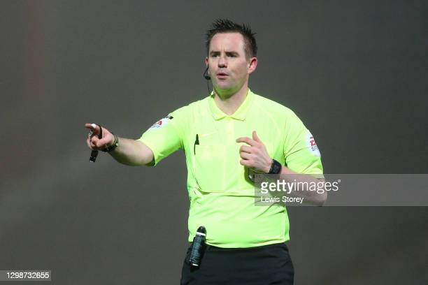 Referee David Rock makes a decision during the Sky Bet League One match between Rochdale and Oxford United at Crown Oil Arena on January 26, 2021 in...
