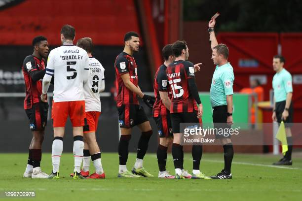 Referee David Webb awards Jefferson Lerma of AFC Bournemouth a red card during the Sky Bet Championship match between AFC Bournemouth and Luton Town...