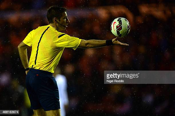 Referee Davide Massa during the international friendly between England Under 21 and Germany Under 21 at Riverside Stadium on March 30 2015 in...