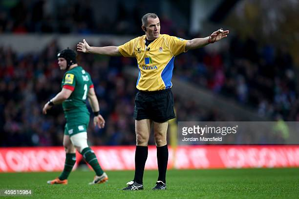 Referee Dean Richards looks on during the Aviva Premiership match between London Welsh and Leicester Tigers at Kassam Stadium on November 23 2014 in...