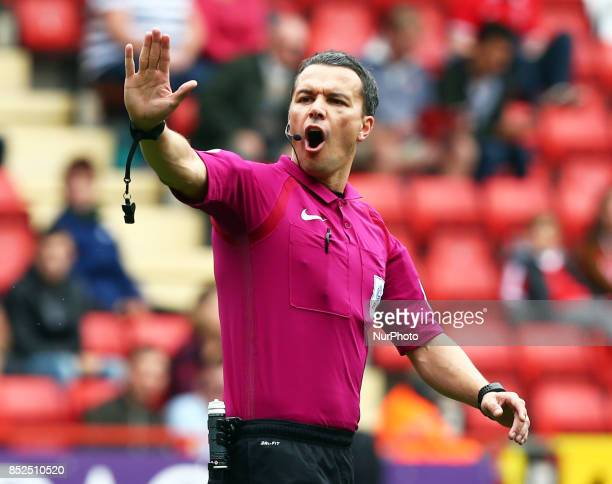 Referee Dean Whitestone during Sky Bet League One match between Charlton Athletic against Bury at The Valley Stadium London on 23 Sept 2017
