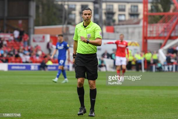 Referee, Dean Whitestone during the Sky Bet Championship match between Nottingham Forest and Cardiff City at the City Ground, Nottingham on Sunday...