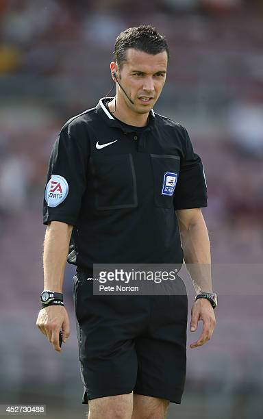 Referee Dean Whitestone looks on during the PreSeason Friendly match between Northampton Town and Leyton Orient at Sixfields Stadium on July 26 2014...