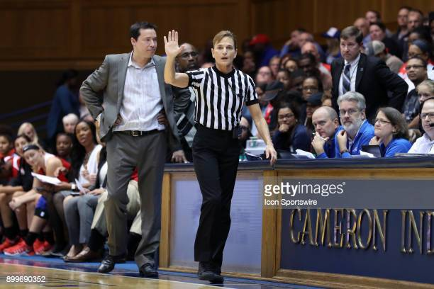 Referee Dee Kantner and Ohio State head coach Kevin McGuff during the Duke Blue Devils game versus the Ohio State Buckeyes on November 30 at Cameron...