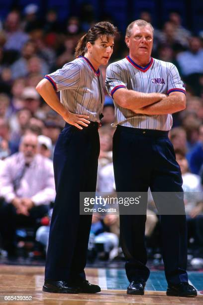 Referee Dee Katner discusses the game of the San Antonio Spurs dunks against the Golden State Warriors on November 19 1997 at the Alamodome in San...
