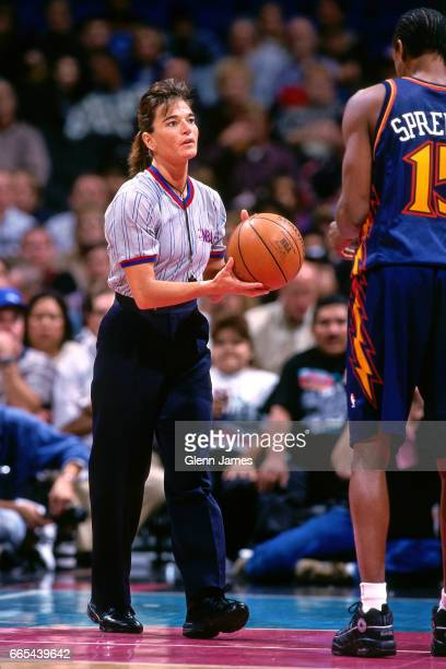 Referee Dee Katner during the game of the San Antonio Spurs shoots against the Golden State Warriors on November 19 1997 at the Alamodome in San...