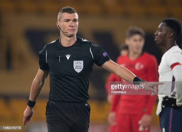 Referee Delajod Willy during the UEFA Euro Under 21 Qualifier match between England U21 and Turkey U21 at Molineux on October 13 2020 in...
