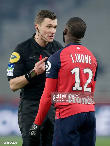 Referee Delajod Willy Jonathan Ikone of Lille during the French League 1 match between Lille v Amiens SC at the Stade Pierre Mauroy on January 18...