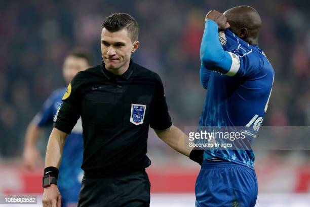 Referee Delajod Willy Prince Gouano of Amiens SC during the French League 1 match between Lille v Amiens SC at the Stade Pierre Mauroy on January 18...
