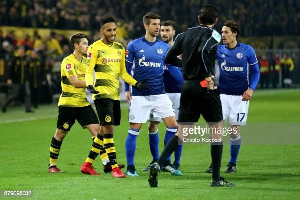 Referee Deniz Aytekin has showed PierreEmerick Aubameyang of Dortmund the red card during the Bundesliga match between Borussia Dortmund and FC...