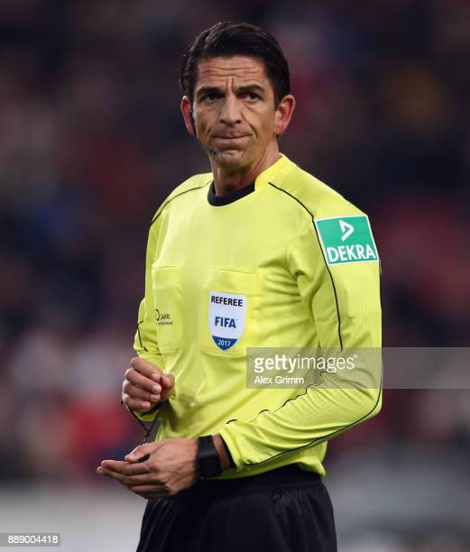 Referee Deniz Aytekin reacts during the Bundesliga match between VfB Stuttgart and Bayer 04 Leverkusen at MercedesBenz Arena on December 8 2017 in...