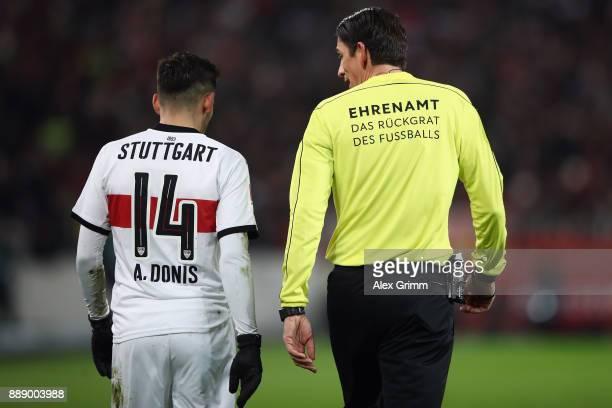 Referee Deniz Aytekin wears a jersey with the slogan 'Ehrenamt das Rueckgrat des Fussballs' during the Bundesliga match between VfB Stuttgart and...