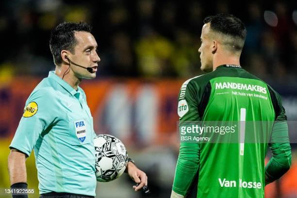 Referee Dennis Higler and Etienne Vaessen of RKC Waalwijk during the Dutch Eredivisie match between RKC Waalwijk and Willem II at Mandemakers Stadion...