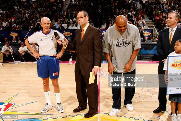 NBA referee Dick Bavetta and NBA Legend Charles Barkley are interviewed by TNT's Ernie Johnson after they competed against each other in a Foot Race...