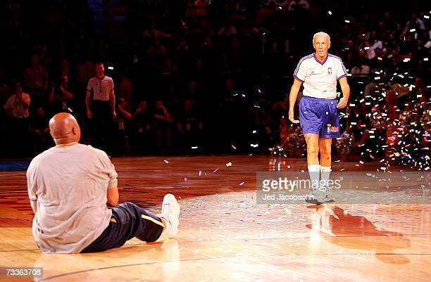 Referee Dick Bavetta approaches NBA legend Charles Barkley after their footrace during NBA AllStar Weekend on February 17 2007 at Thomas Mack Center...