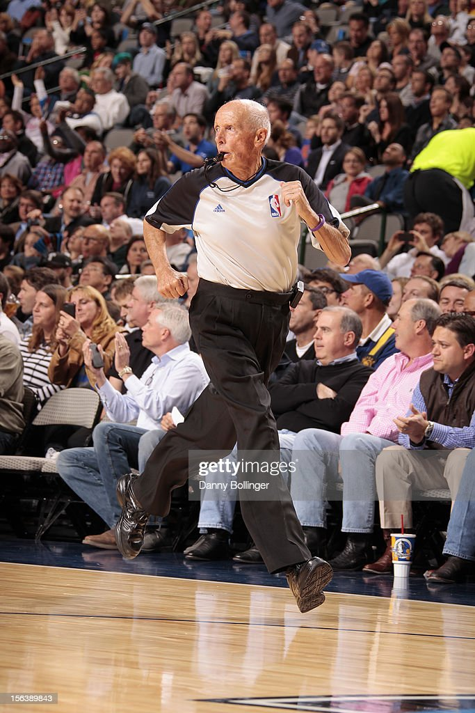 Referee Dick Bavetta during the game between the Dallas Mavericks and Minnesota Timberwolves on November 12, 2012 at the American Airlines Center in Dallas, Texas.