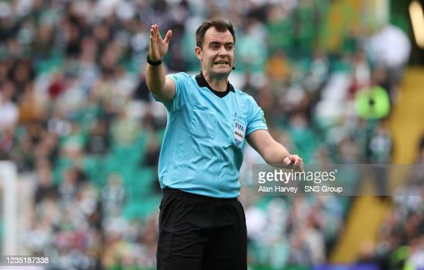 Referee Don Robertson during a cinch Premiership match between Celtic and Ross County at Celtic Park on September 11 in Glasgow, Scotland