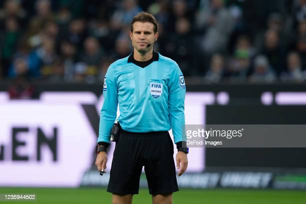 Referee Dr. Felix Brych looks on during the Bundesliga match between Borussia Mönchengladbach and VfB Stuttgart at Borussia-Park on October 16, 2021...