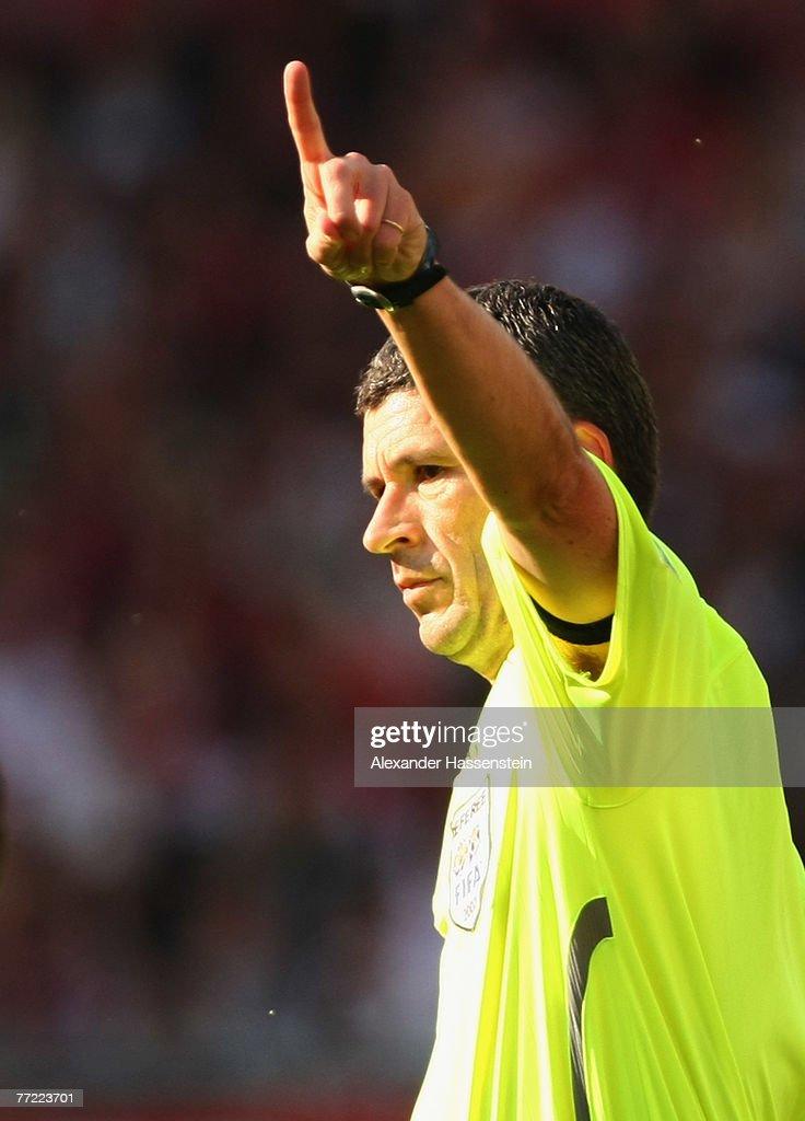 Referee Dr. Markus Merk reacts during the Bundesliga match between VfB Stuttgart and Hannover 96 at the Gottlieb-Daimler-Stadium on October 06, 2007 in Stuttgart, Germany.