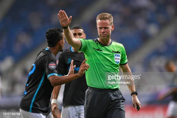 Referee Drew Fischer in action during a second leg match between Monterrey and Atletico Pantoja as part of Round of Sixteen of Concacaf Champions...