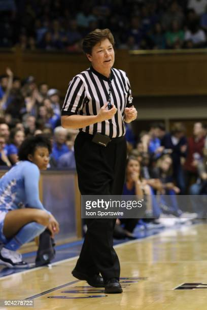Referee during the 1st half of the Women's Duke Blue Devils game versus the Women's North Carolina Tar Heels on February 25 at Cameron Indoor Stadium...