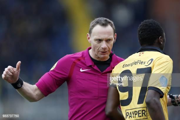 referee Ed Janssen Sadiq Umar of NAC Breda during the Dutch Eredivisie match between NAC Breda and Roda JC Kerkrade at the Rat Verlegh stadium on...